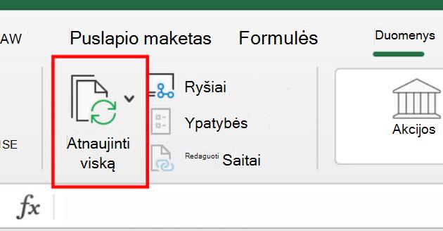 """""""Excel"""", skirtos """"Mac"""", juostelės komanda resfresh All"""
