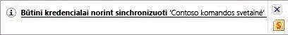 """Sinchronizavimo įspėjimas """"Windows"""" pranešimų srityje"""