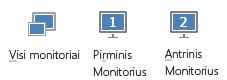 Skirtuko Pateikti ekrano nuotrauka, kurioje rodomas pagrindinis, antrinis ir visi monitoriai