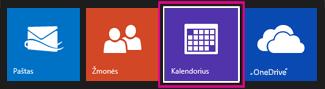 """Outlook.com pagrindinis meniu – pasirinkite """"Kalendorius"""