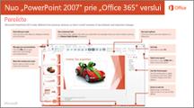 """""""PowerPoint 2007"""" perjungimo į """"Office 365"""" vadovo miniatiūra"""
