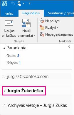 """PST failas rodomas kairėje """"Outlook"""" naršymo juostoje"""