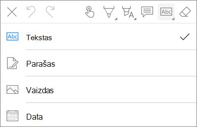 """""""OneDrive"""", skirta """"iOS"""" PDF žymėjimo teksto meniu"""