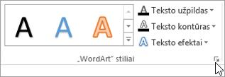 """Pasirinkę norimą """"WordArt"""" stilių dialogo lango vykdyklė"""