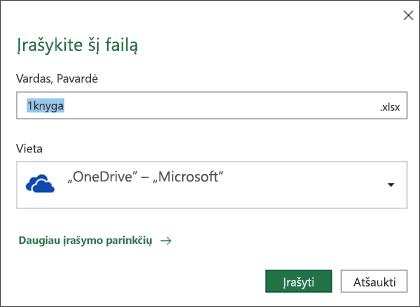 """Įrašymo dialogo langas """"Microsoft Excel"""", skirtoje """"Office 365"""""""