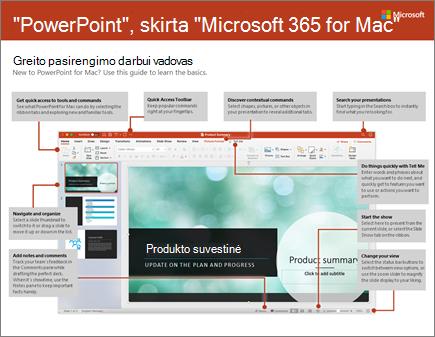 """""""PowerPoint 2016"""", skirtos """"Mac"""", greito pasirengimo darbui vadovas"""