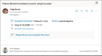 """Skaitymo sritis internetinėje """"Outlook"""""""