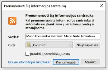 RSS prenumerata dialogo langas, kuriame galima keisti aplankus, kad informacijos santraukas į