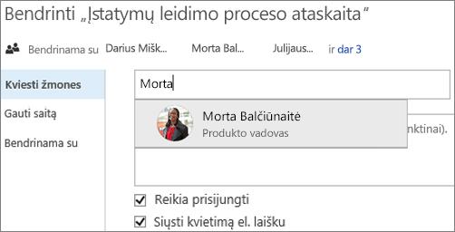 """""""OneDrive"""" verslui Kviesti žmones skirtukas"""