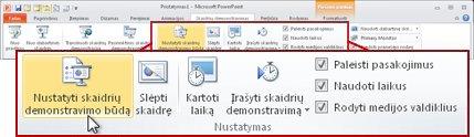"""Programos """"PowerPoint 2010"""" juostelėje esančio skirtuko Skaidrių pateiktis grupė Nustatymas"""