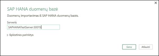 Dialogo lango SAP HANA duomenų bazė
