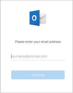 Pirmame rodomame ekrane prašoma įvesti el. pašto adresą