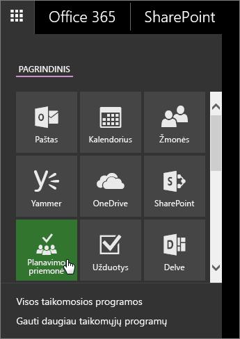 """""""Office 365"""" programų srities su aktyvia planavimo priemonės plytele ekrano nuotrauka."""