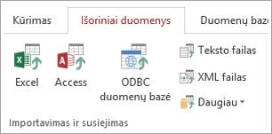 Access' Išoriniai duomenys grupėje