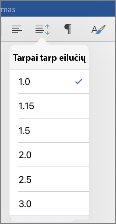 """Rodo linijos tarpų tarp eilučių parinktys programoje """"Word"""" skirta """"iPad""""."""