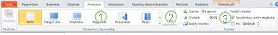 """Skirtukas Perėjimas programos """"PowerPoint 2010"""" juostelėje."""
