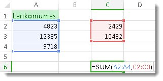 Funkcijos SUM naudojimas su dviem skaičių diapazonais