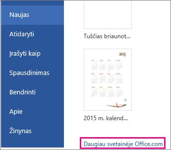 spustelėkite Daugiau apie Office.com