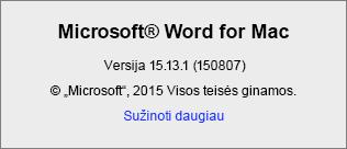 """""""Word for Mac"""" puslapio Apie ekrano nuotrauka"""