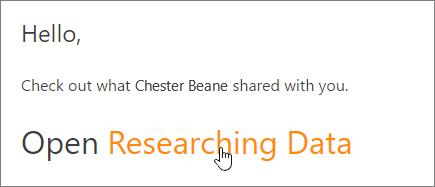 """Ekrano nuotrauka, rodanti """"OneDrive"""" bendrai naudojamo failo saitą į laišką."""