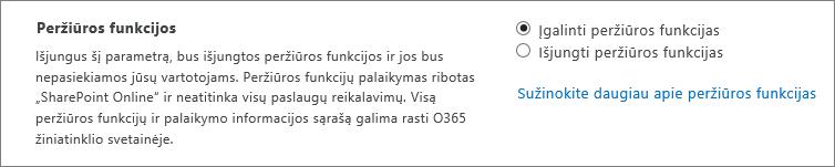 """Funkcijų parametro peržiūra """"SharePoint"""" administravimo centre"""