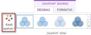 """Spalvų keitimo parinktis grupėje """"SmartArt"""" stiliai"""