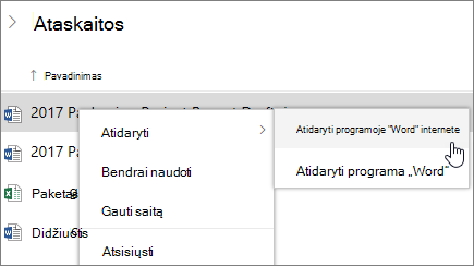 """Atidaryti failą programoje """"Word Online"""", """"OneDrive"""""""