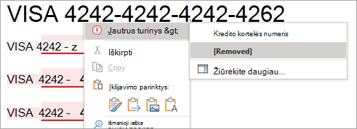 """Pažymėto slapto turinio programoje """"Word"""" ekrano nuotrauka"""