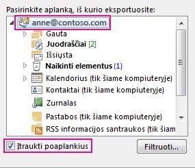 """Dialogo langas Eksportuoti """"Outlook"""" duomenų failą, kai pasirinktas pirminis aplankas ir pažymėta Įtraukti poaplankius"""
