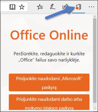Prisijungimo dialogo langą Office Online išplėsti Edge