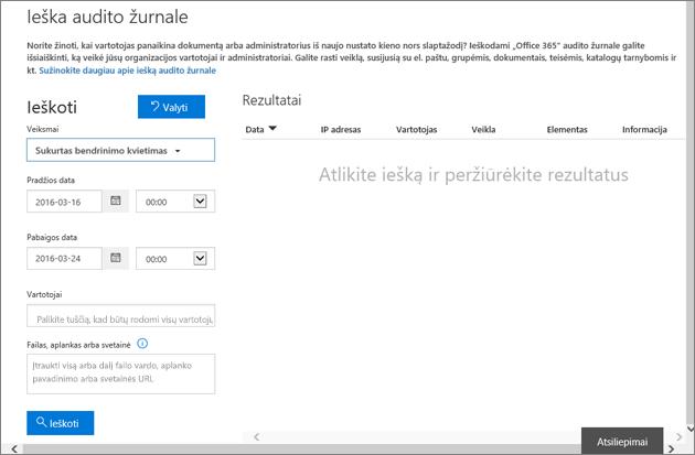 """""""Office 365"""" veiklos ataskaita filtruota kvietimui kurti"""