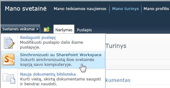 """Svetainės veiksmų meniu komanda Sinchronizuoti su """"SharePoint Workspace"""""""