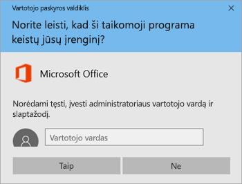 Ekrano nuotrauka, kurioje matomas langas Vartotojo paskyros valdymo tarnyba