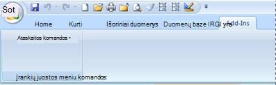 Add-Ins tab containing a custom menu