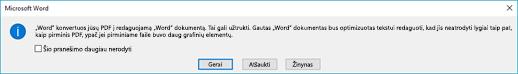 Word patvirtins, kad bandys konvertavimo PDF failą, kurį atidarėte.