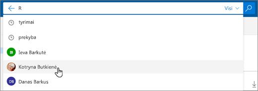 Siūlomų žmonių ieškos rezultatuose ekrano kopija