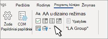 Skirtukas programų kūrėjas, kuriame rodomi turinio valdikliai