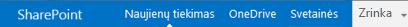 """SharePoint Server 2013"" naršymo juosta"
