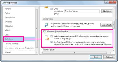 Sinchronizuoti RSS informacijos santraukas