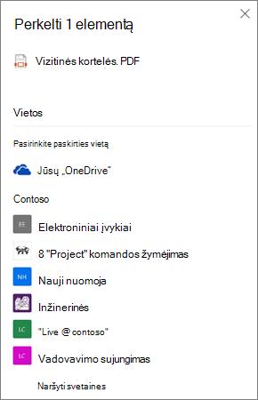 """Paskirties vietos pasirinkimo, perkeliant failą iš """"OneDrive"""" į """"SharePoint"""", ekrano nuotrauka"""