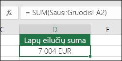 3D SUM įvardytuose lapuose.  Formulė D2 langelyje yra =SUM(January:December!A2)