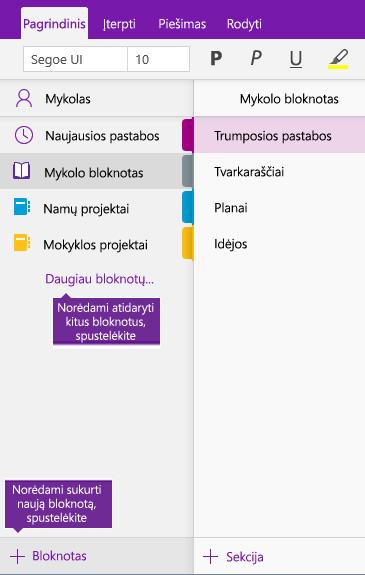 """Naujo """"OneNote"""" bloknoto kūrimo ekrano kopija"""