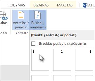 Puslapių numerių įtraukimo į antraštę arba poraštę UI vaizdas.