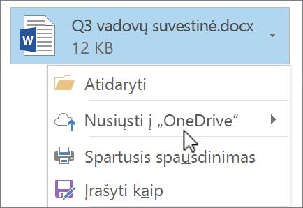"""Programos """"Outlook"""" kūrimo lango, kuriame rodomas pridėtas failas su pasirinkta komanda Siųsti, ekrano nuotrauka."""