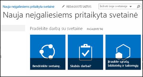 """Naujos """"SharePoint"""" svetainės, kurioje rodomos svetainės tinkinimo plytelės, ekrano kopija"""
