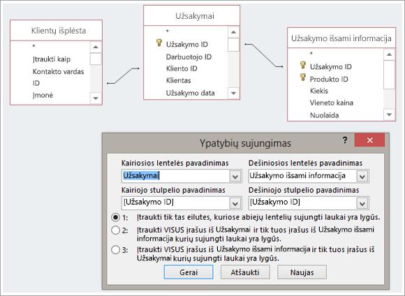 Trys lentelių ir jų sujungimo ypatybės ekrano kopija.