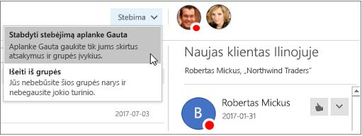 """Mygtukas Prenumeruoti grupės antraštėje programoje """"Outlook 2016"""""""
