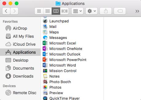 """Atidarykite Finder (Ieškiklis) > Applications (Programos) > ieškokite """"Microsoft"""""""