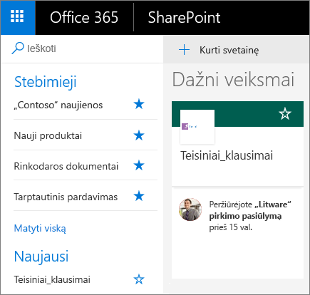 """""""SharePoint"""" modernaus režimo pagrindinio puslapio ekrano nuotrauka."""