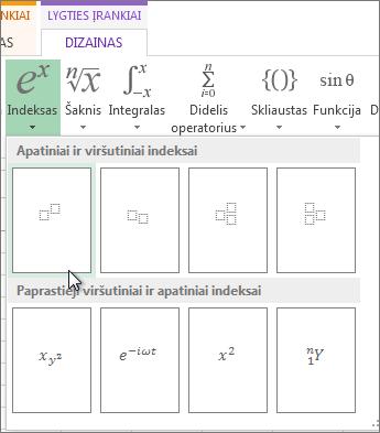 Mygtukas Viršutinis indeksas lygties įrankių juostoje